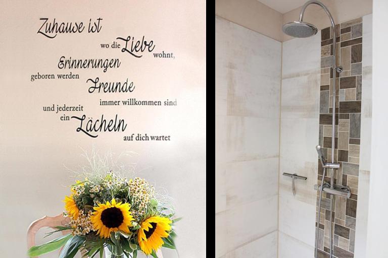 Urlaub im Landhaus Kanzler in Thandorf - Wandtatoo mit Sonnenblumen Strauß / Dusche