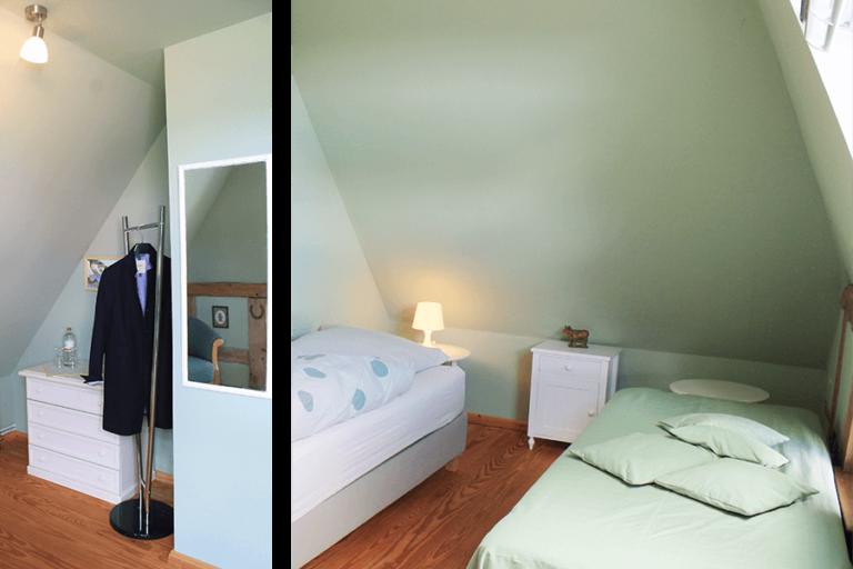 Urlaub im Landhaus Kanzler in Thandorf - grünes Zimmer mit 2 Betten und stummem Diener