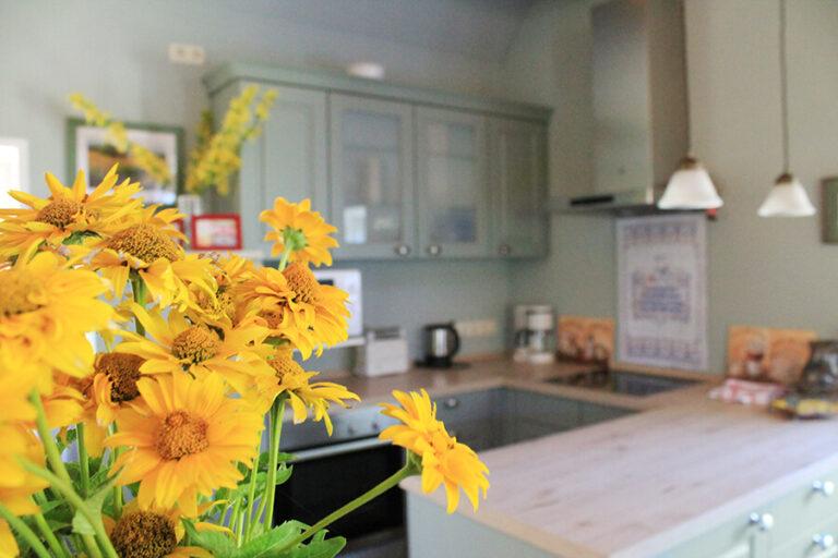 Urlaub im Landhaus Kanzler - Kuechentresen und Kochfeld hinter Sonnenblumen
